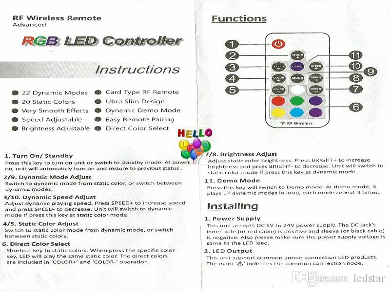 LED RGB Controller 5 V DC-24V 12A 17key Mini RF Wireless Remote Dimmer für 5050 3528 RGB flexibles Streifen-Licht