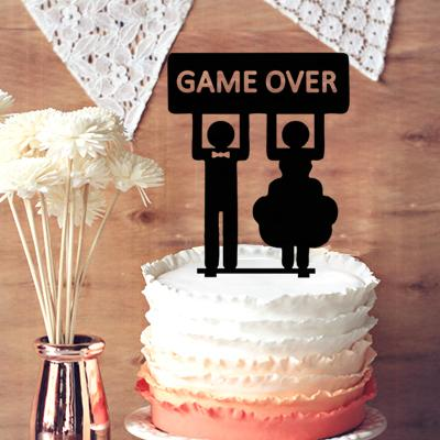 Wedding Cake Topper Silhouette Groom And Bride,Game Over Funny ...