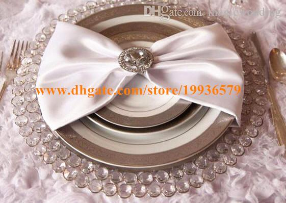 Wholesale 33cm Round Gold Silver Glass Crytal Beaded Charger Plate ...