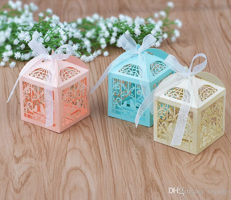 Dusche begünstigt Liebe Vögel Baby Pralinenschachtel mit Laser schneiden Papier Hochzeit Gefälligkeiten für Geburtstag Party Dekoration liefert