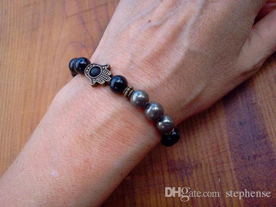 SN0591 Novo Design Pyrite Pulseira De Hamam Fatima Pulseira De Mão Para Homens Onyx e pirita pulseira de Jóias Hamsa