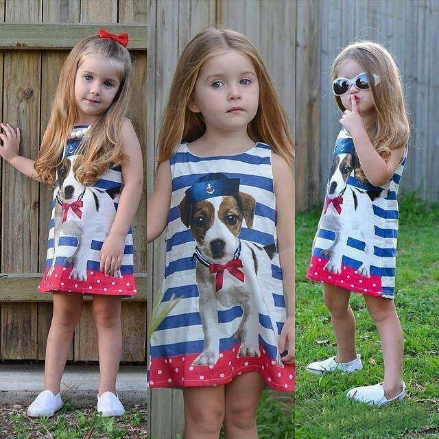 New Europe Fashion Girls Cartoon Dress Kids Stripe Cute Dog Printed Sleeveless Vest Dress Children Tank Tops Casual Sundress Child Clothing