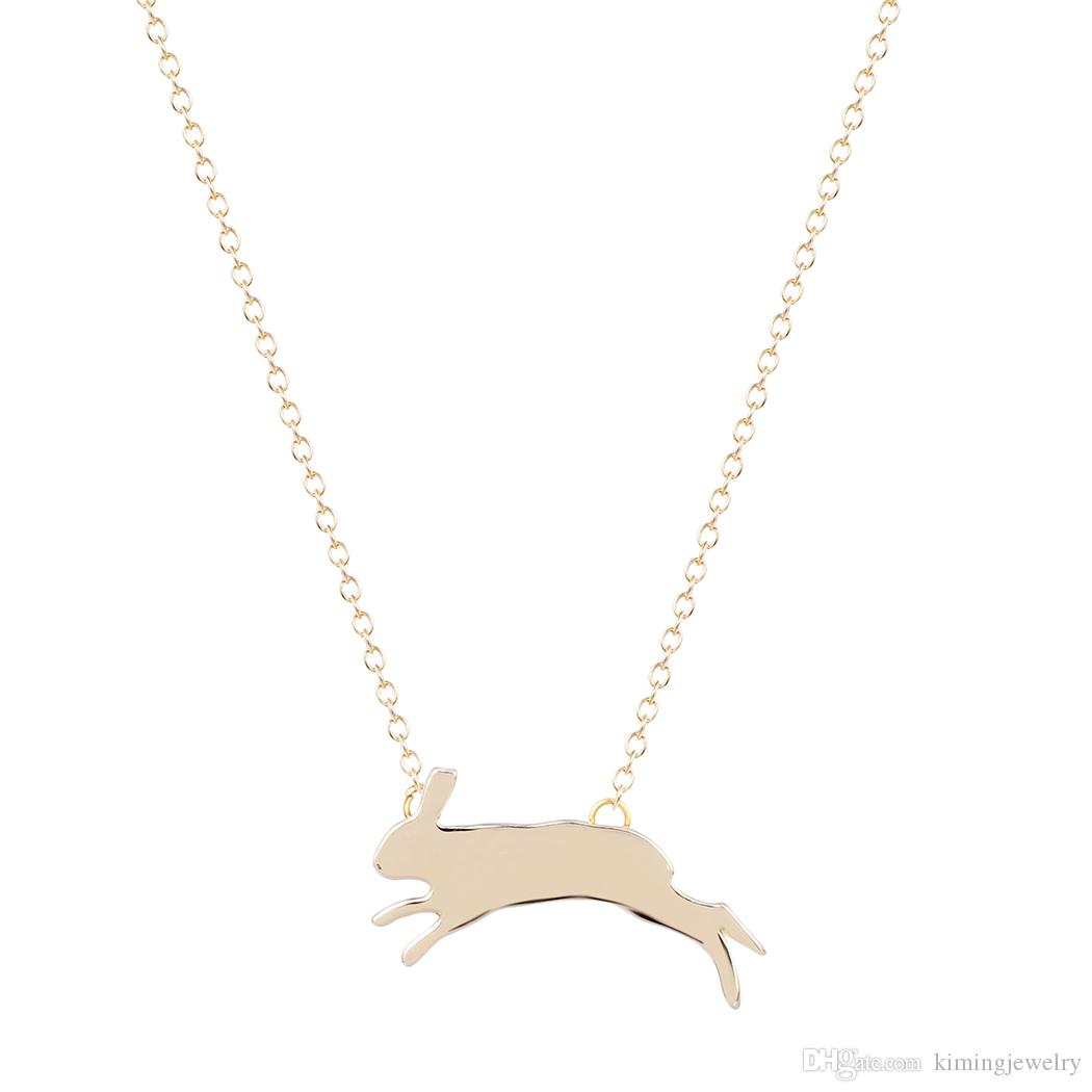 Wholesale simple cute bunny silhouette charm animal necklace unique wholesale simple cute bunny silhouette charm animal necklace unique running rabbit pendant brand jewelry birthday gift for women small pendant necklaces aloadofball Image collections