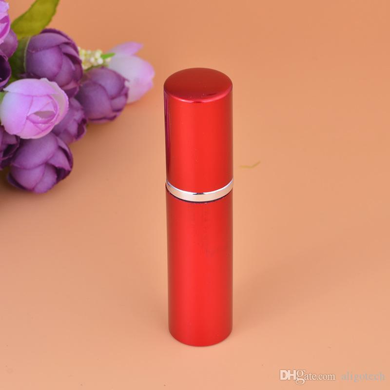 Livre DHL 5ML Mini portáteis Frascos de perfume de vidro de alumínio com pulverizador atomizador Esvaziar Parfum essenciais recipiente de óleo 7 cores