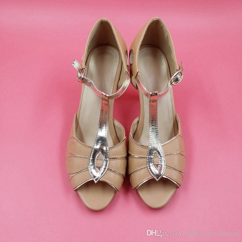 Simple Blush Pink Wedding Shoes With Gold Straps T-strap Bridal ...