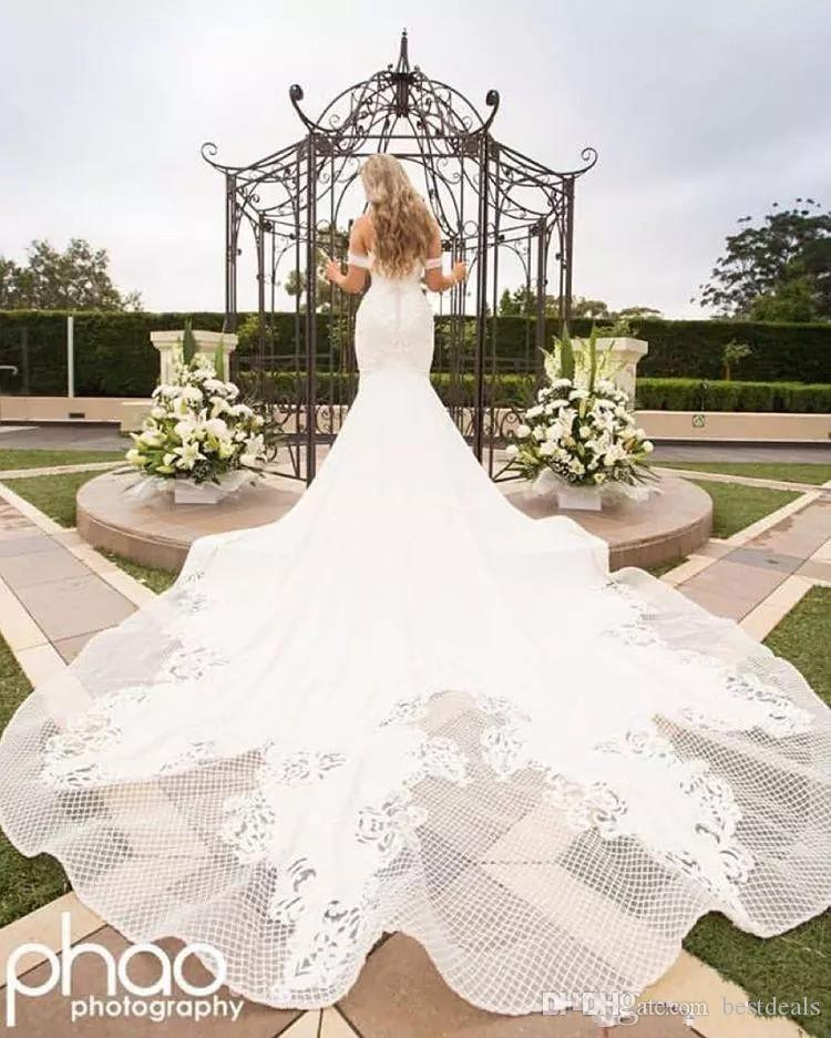Off Shoulder Lace Embroidery Detail Mermaid Wedding Dresses 2018 Modest Cathedral Train Elegant Beach Garden Castle Fishtail Wedding Gowns