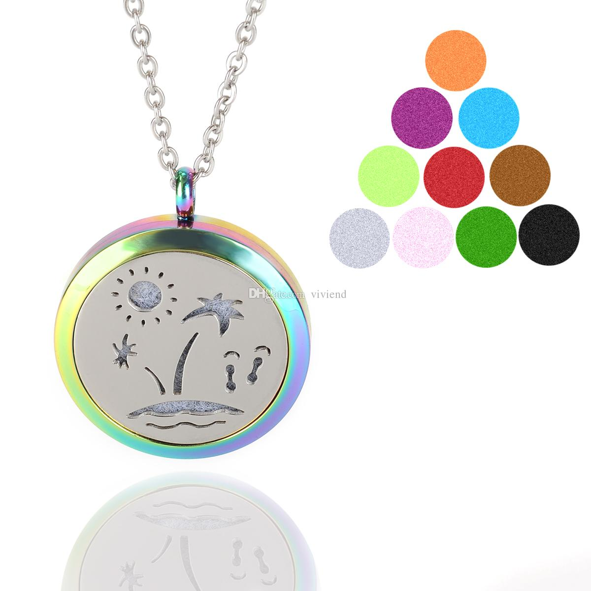 Aromatherapy Essential Oil Diffuser Necklace Multicolor Seaside Scenery Locket Pendant with Refill Pads 316L Stainless Steel