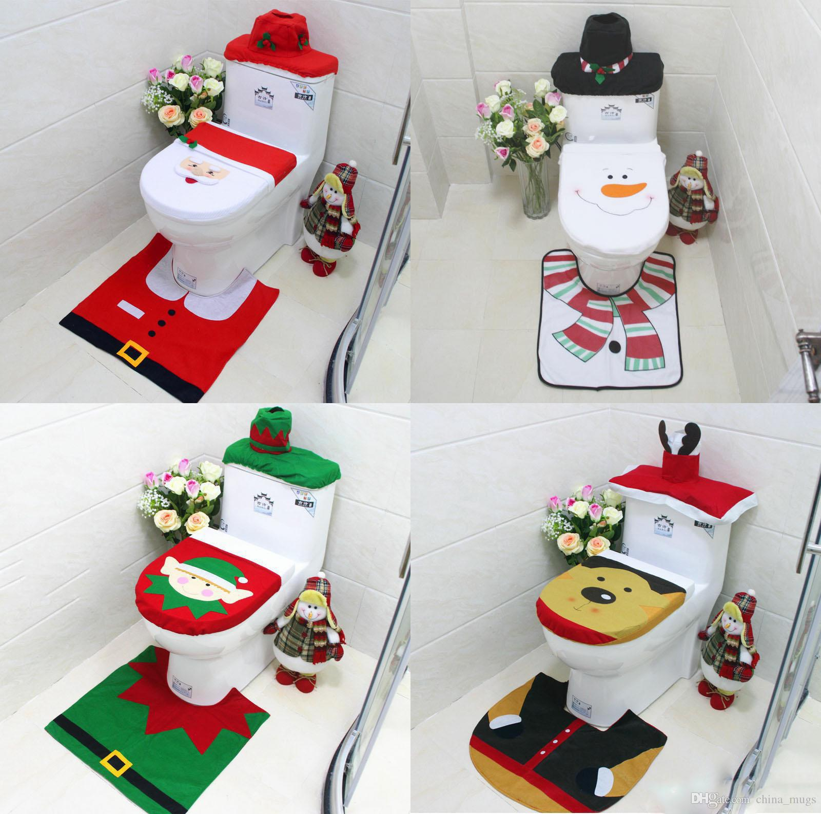 Cool 3Pcs Bathroom Toilet Seat Covers Rug Bathroom Set Christmas Decorations Happy Santa Toilet Seat Covers Sets Squirreltailoven Fun Painted Chair Ideas Images Squirreltailovenorg