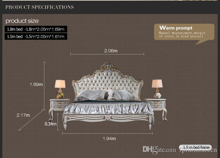 Antique reproduction furniture- French royalty bedroom furniture - solid wood carved queen bed with gold leaf gilding