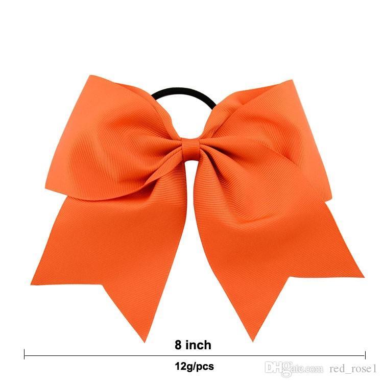 40 sztuk / partia 8 calowy solidny łuk cheerleading z elastyczną wstążką wstążką myśliwską z kucyk dla dziewczyny butikowe akcesoria do włosów