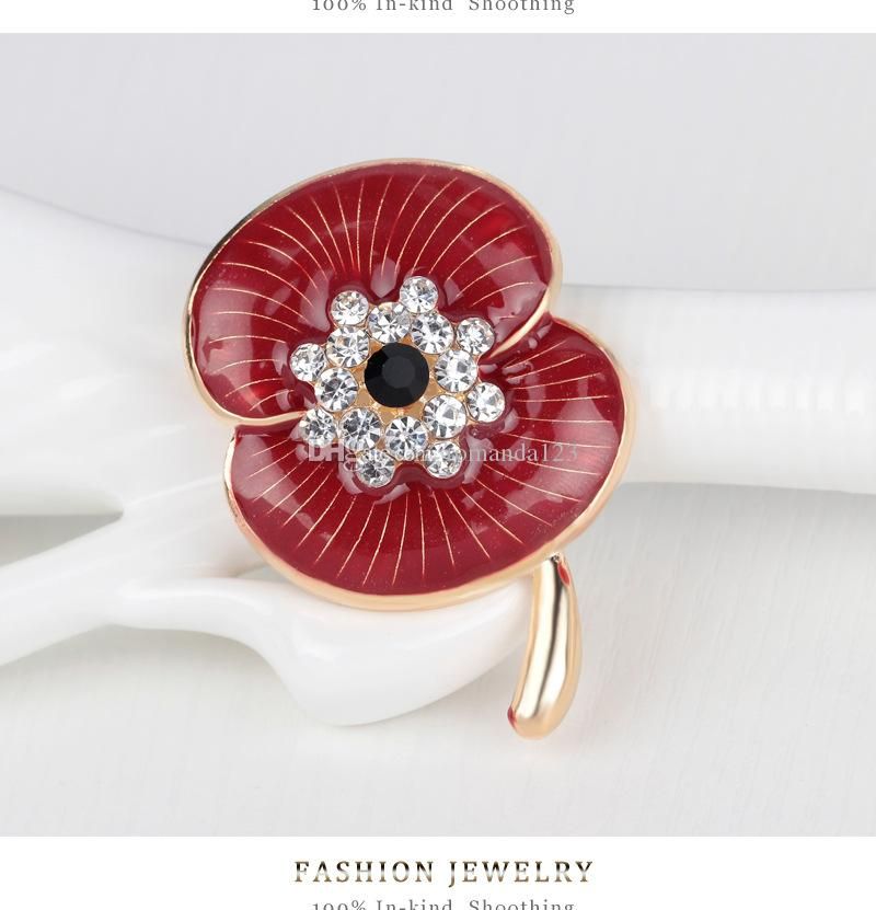 Enamel Red Poppy Brooch Pin Badge Golden Plated White Crystal Poppy Flower Brooch Remembrance Day Gift Newest Design DHL