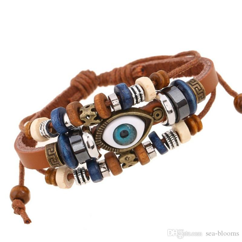 7 Estilo Vintage Evil Eye Bracelet Múltiples Capas de Cuero de Vaca Genuino Charm Bracelet Brazalete Pulsera Joyería Turca Braclet B907S