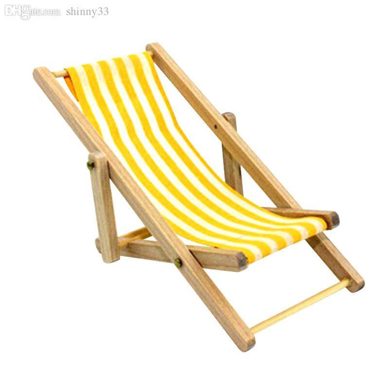 Wholesale Yellow New Free Shipping 2016 High Quality Diy Dolls House 112 Miniature Foldable Wooden Deckchair Lounge Beach Chair Hot Sale