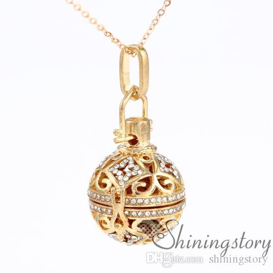 palla rombo aromaterapia collana diffusore medaglione medaglione gioielli all'ingrosso collana di ciondolo olio essenziale strass metallo pietra vulcanica