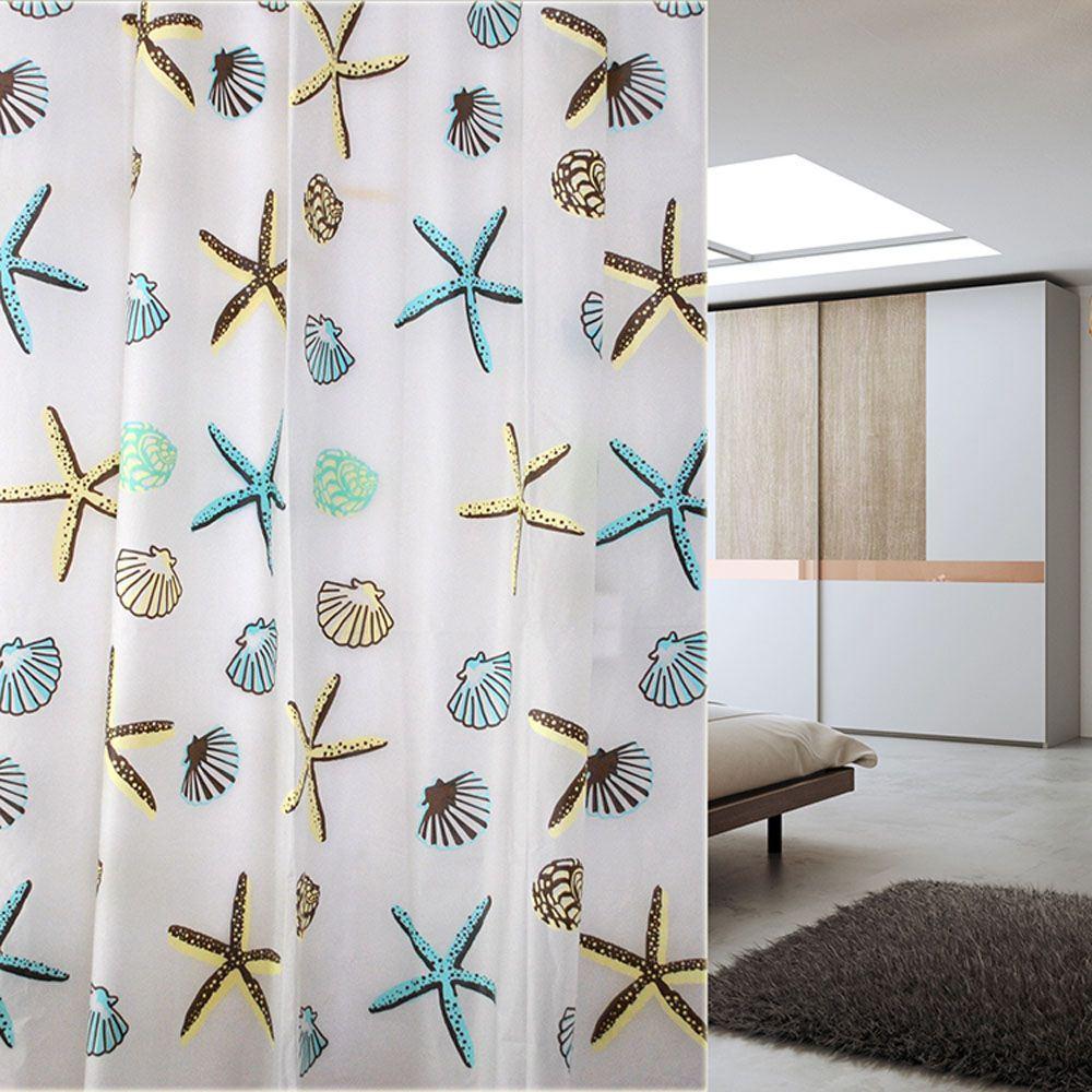2018 Good Quality Shower Curtain 180x180cm Starfish Peva Bathroom ...