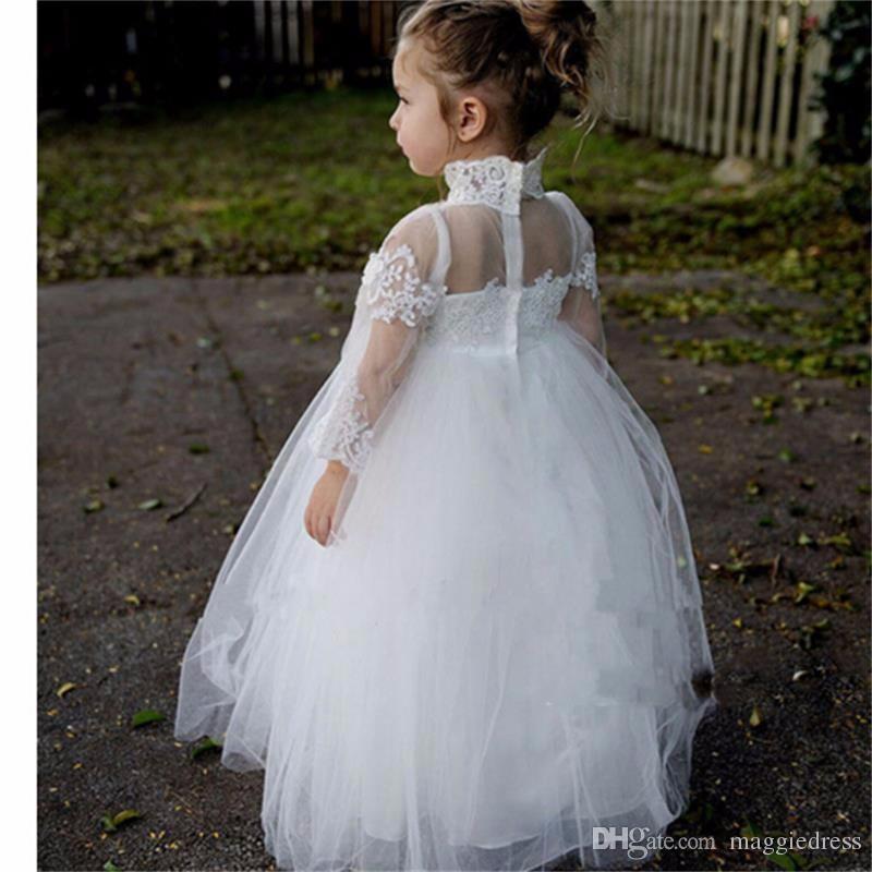 2016 Princesa Flor Meninas Vestido de Manga Longa Branco Apliques vestido de Baile Bonito Meninas Primeira Comunhão crianças vestido de noiva flowergirl