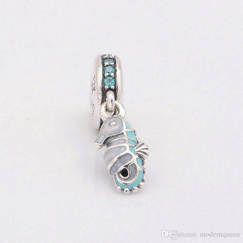 Seahorse charms silver fits original jewelry bracelets S925 sterling silver slide 791311MCZ H8