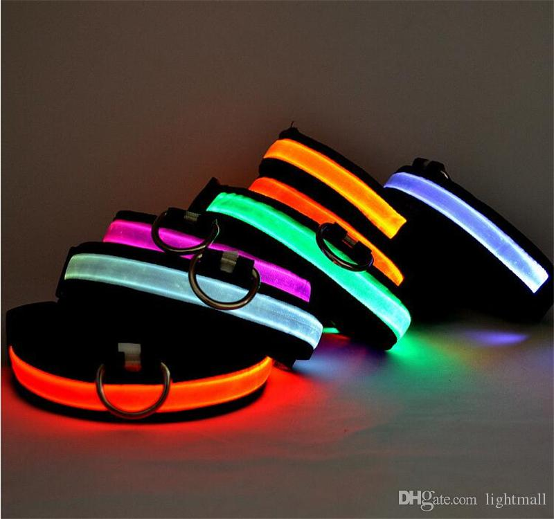 8colors LED di cane di nylon del guinzaglio del collare dell'animale domestico regolabile conduce cavo di sicurezza incandescente lampeggiante Catena cucciolo guinzagli S-XL Rope Belt