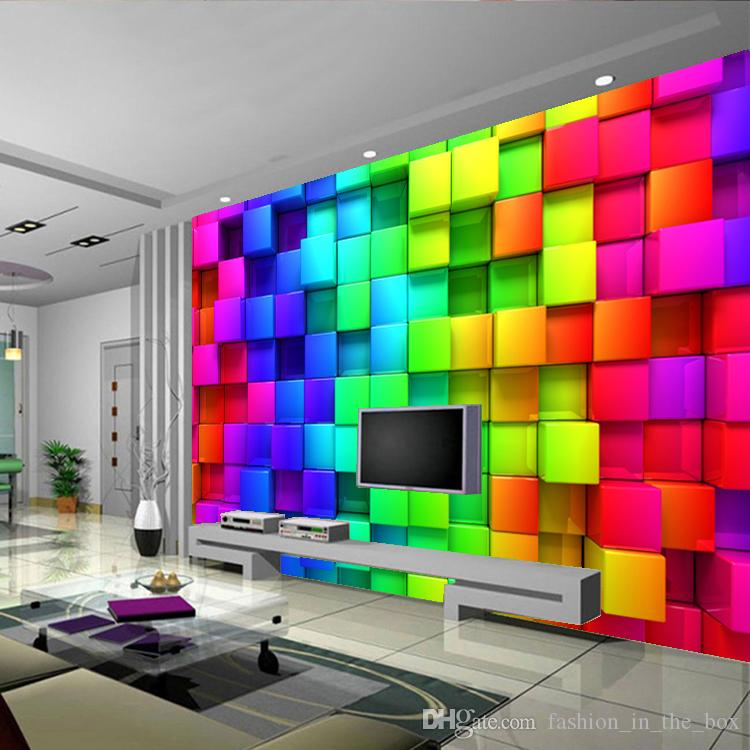 Modern Custom D Wallpaper Colorful Blocks Photo Wallpaper Brick - 3d brick wallpaper living room