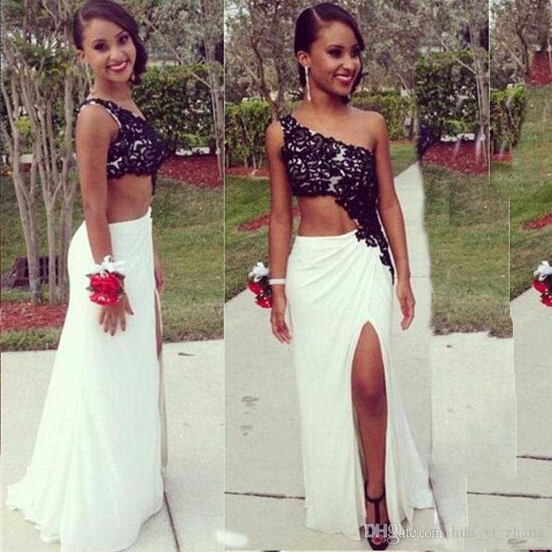 Black and White One Shoulder Prom Dress