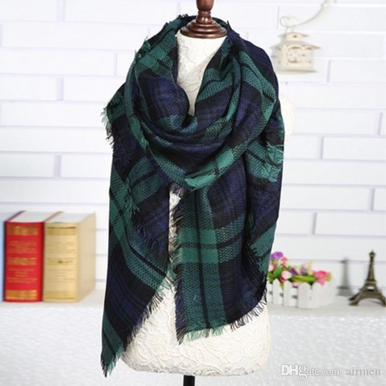 2016 Hot Women fashion Plaid Scarf Warm Soft Winter Blanket Scarf Oversized Tartan Scarf women Shawl Scarf Scarves & Wraps DHL free