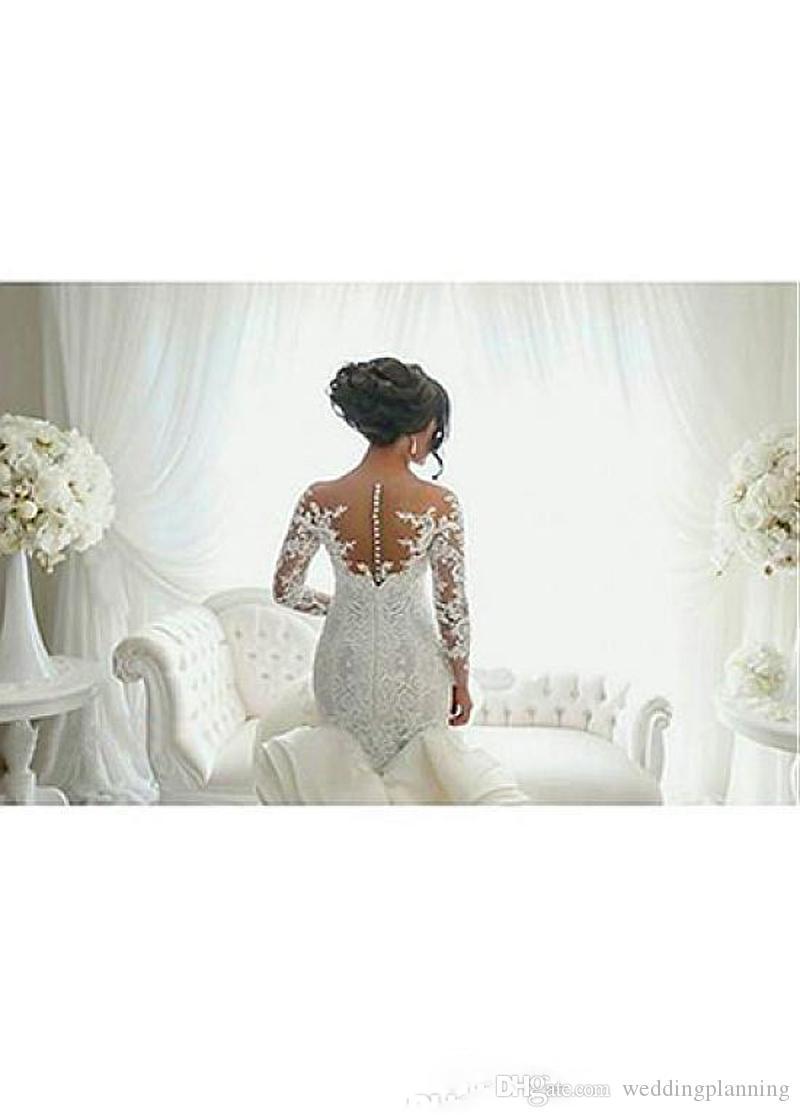 vestido de noiva 깎아 지른 목에 긴 소매 웨딩 드레스 빈티지 인어 복숭아 레이스 Tulle Bridal Gowns