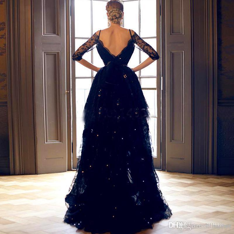 Frauen Open Back Sweetheart Perlen Lace Party Kleider Langarm durchsichtig Navy Blue High Low Fashion Lange Prom Abendkleider Customized