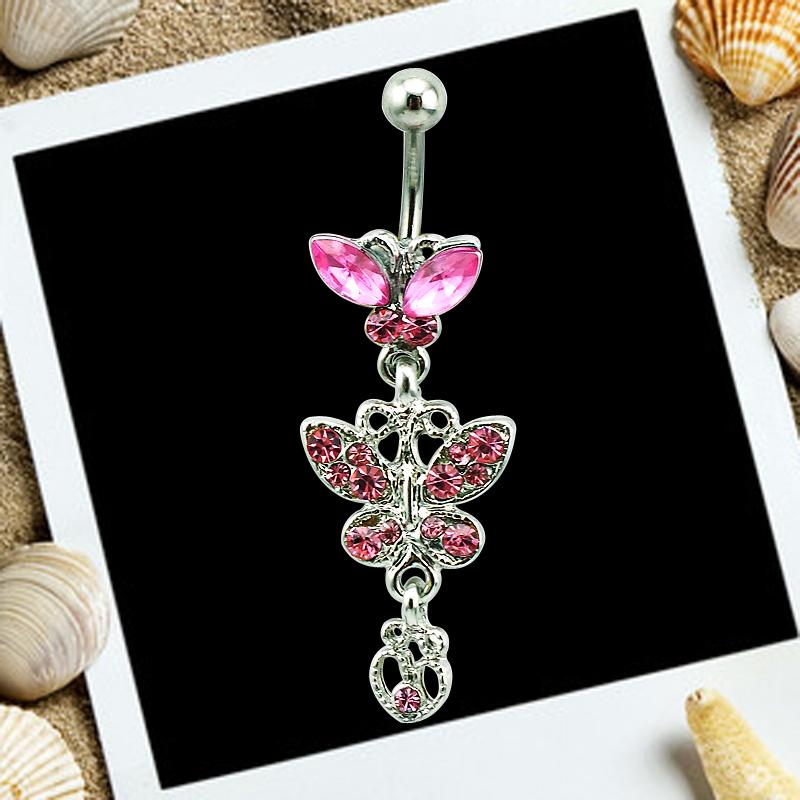 Body Piercing Fashion Belly Button Rings Surgical Steel Barbells Dangle Rhinestone Butterfly Navel Rings Jewelry