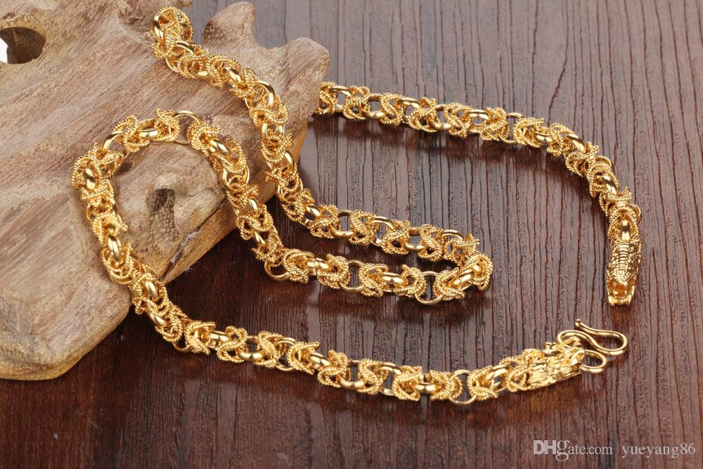 New Arrival 316L Stainless Steel Jewelry Delicate 18K Gold Plated Men's Link-Chain Necklace Double dragon Noble Bling 23.6''