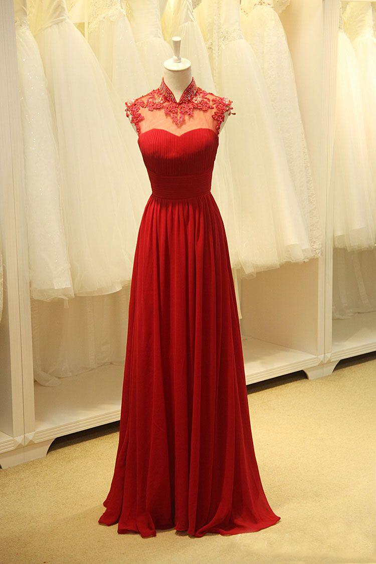 Elegante rote lange Abschlussball-Kleider mit Applique-Hand wulstiger hoher Ansatz-Sleeveless Falten-Boden-Längen-Abend-Partei-Kleid-formalem Kleid
