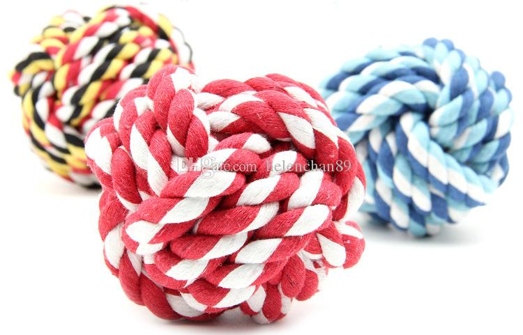 Interactive Wholesale Pet Dog Toys Dual Rope Ball Dog Cat Bite Toy For Small Medium Pets Material Drop Shipping Random Color /