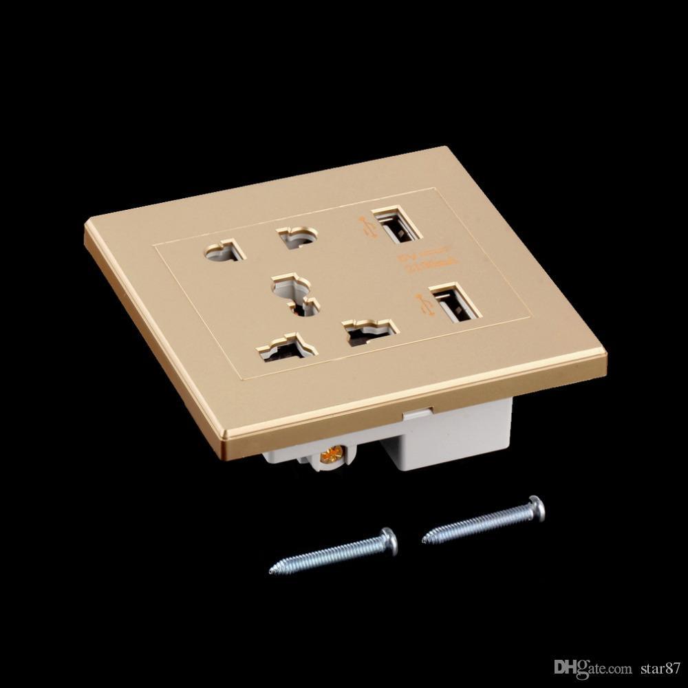 Di alta qualità Nuovo marchio Dual USB Porta caricatore da muro elettrico Presa dock Presa di corrente Piastra pannello i Smart Power Plugs DHL Free
