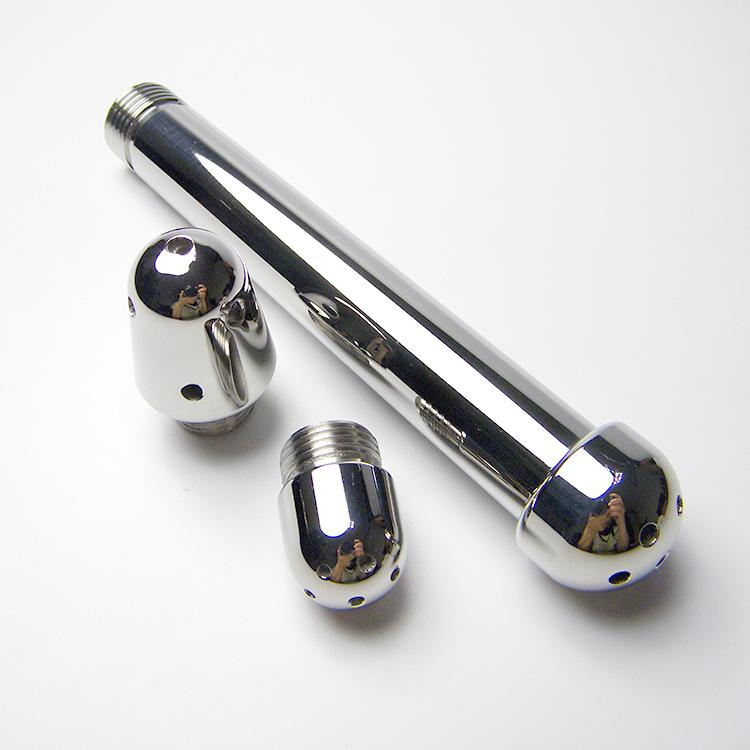 High quality aluminum flush plug with 3 replacement head anus bolt g-spot backyard anal plug flushing washing sex toy