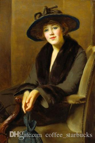 6eea89643bd Young Woman Seated With Black Hat