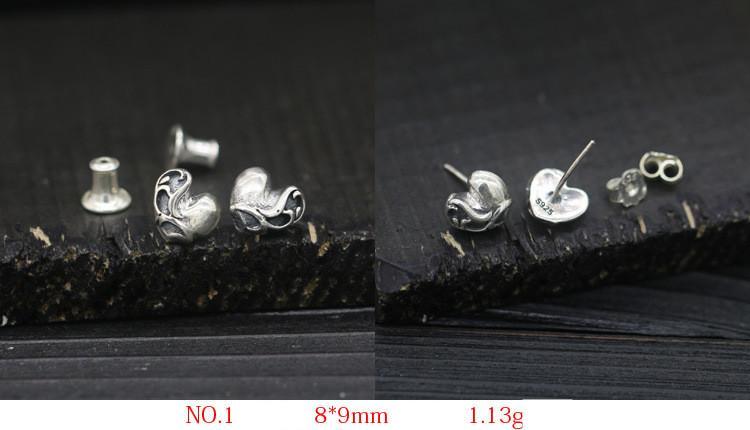 6 Para Mix Ohrringe Stud Persönlichkeit Ankunft Solide 925 Sterling Silber Kreuz Schädel Herz Mode Punk Frauen Männer Schmuck Retro Stil
