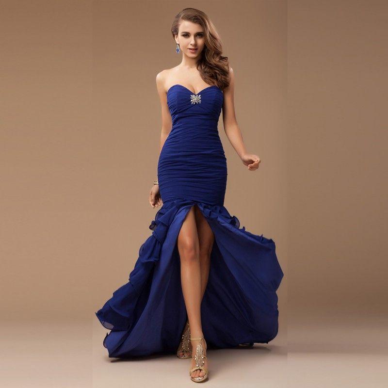 Navy Blue Sweetheart Rüschen Abendkleider Kristalle Perlen vorne Split Chiffon Tiered Prom Kleider bodenlangen rückenfreie formelle Party-Kleid