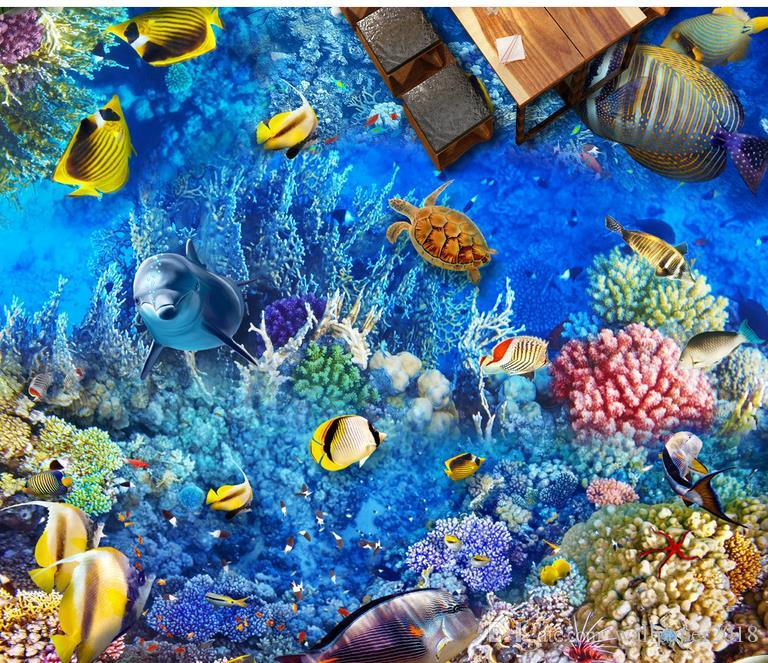 Underwater World Dolphin Coral Living Room Bathroom Floor 3d pvc floor wallpaper for bathroom