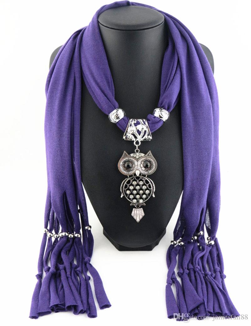Newest Cheap Fashion Women Valentine's Day Scarf Direct Factory Owl Pendant Tassels Scarves Women Rhinestones Owl Scarves Shawl