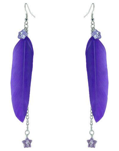 Feather Earrings wholesale Cute Star Bead Charm Chain Light Dangle Eardrop Brown Purple Sky Blue Green White Orange JF141