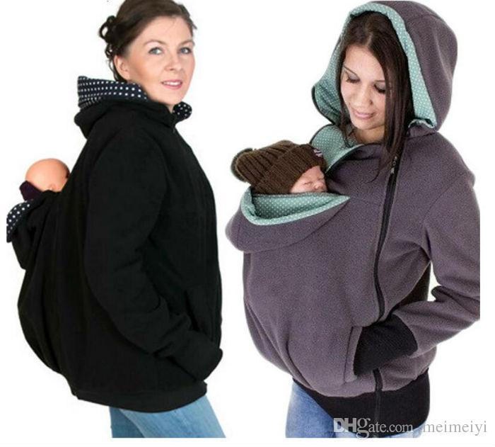 طفل يحمل سترة طفل حاملة هودي الكنغر CoatJacket لأمي والطفل طفل يرتدي هوديي سترة الأمومة