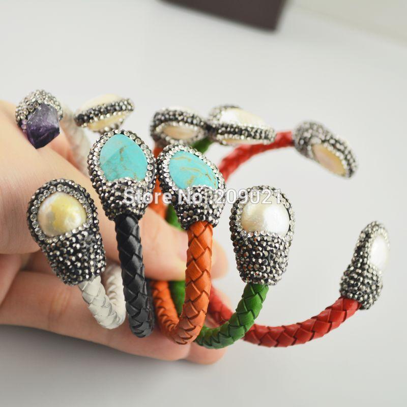 Charms ~ Türkis, Perle, Amethyst, Pave Strass Leder Armreifen Armband in Mischfarbe Schmuck finden
