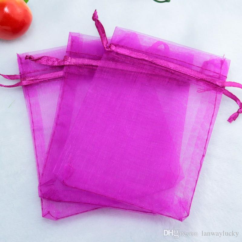Solide Fuchsia Organza Cordons Pochettes Bijoux Partie Petit Faveur De Mariage Sacs D'emballage Cadeau Bonbons Wrap Carré 5 X7cm 2X2.75 ''