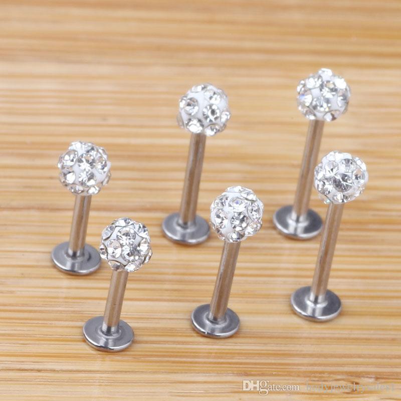 Lip Stud 20 teile / los 6/8/10/12mm Klar Shamballa Ball CZ Edelstein Disco Körperschmuck Lip Ring Labret Bar