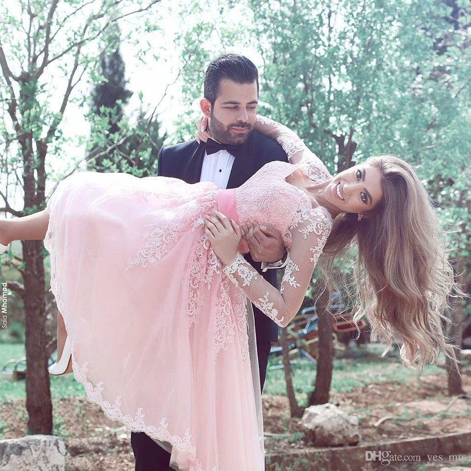 2016 nova árabe cocktail vestidos querida mangas compridas ilusão apliques de renda rosa tule caixilhos vestido de baile curtos vestidos de festa de formatura