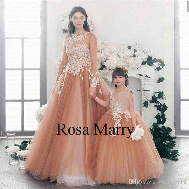 818d90fd6e Champagne Mother And Daughter Dresses 2018 Ball Gown Vintage Lace Beaded  Plus Size Tulle Cheap Family Matching Formal Prom Party Gowns Kids Flower  Girl ...