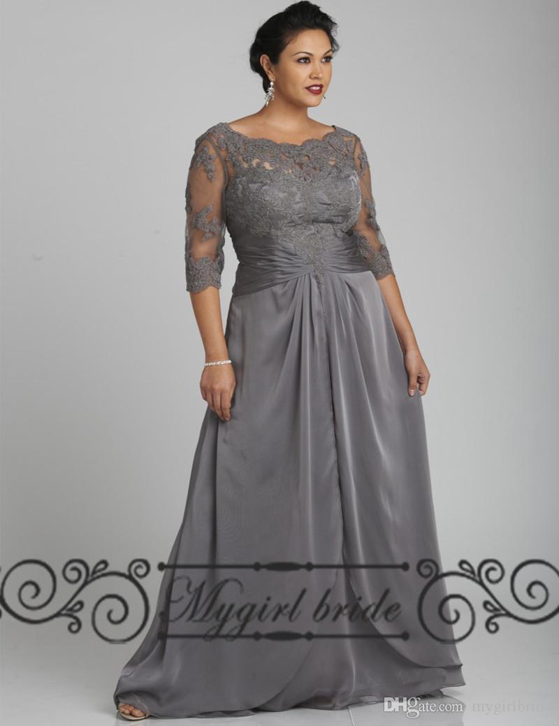 Grey Plus Size Evening Dresses With Sleeves Mermaid Style Custom ...