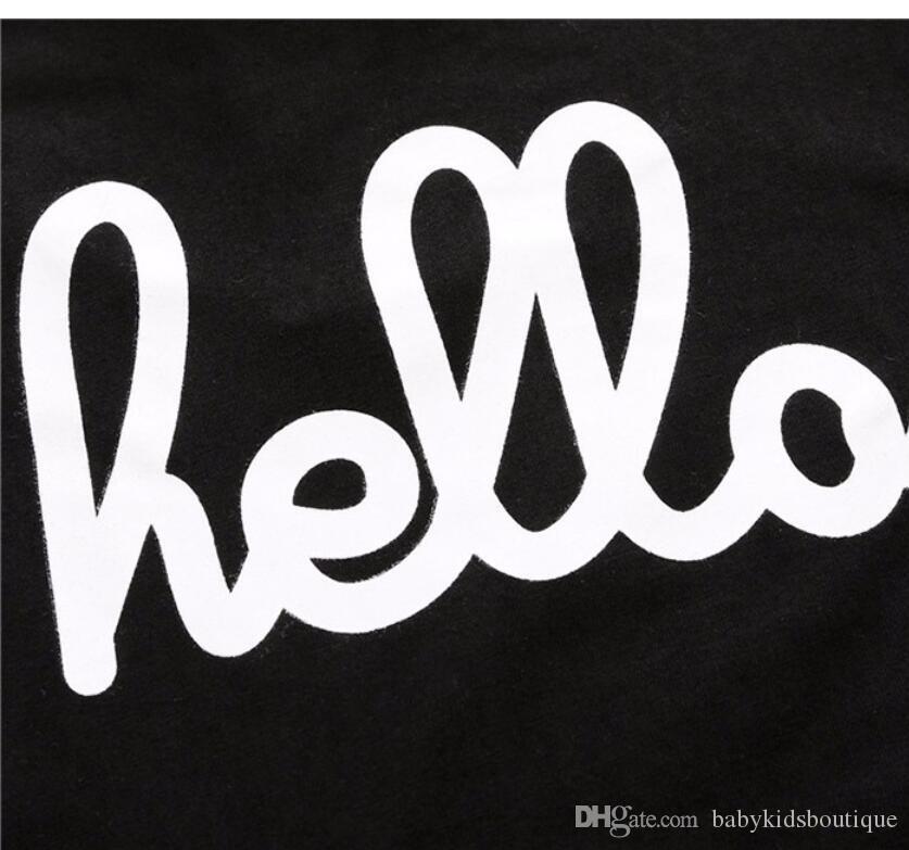 Nueva llegada Niños Set Ropa para niños Negro impreso camiseta y pantalones forman a niños de 2 Piezas sistema de la ropa