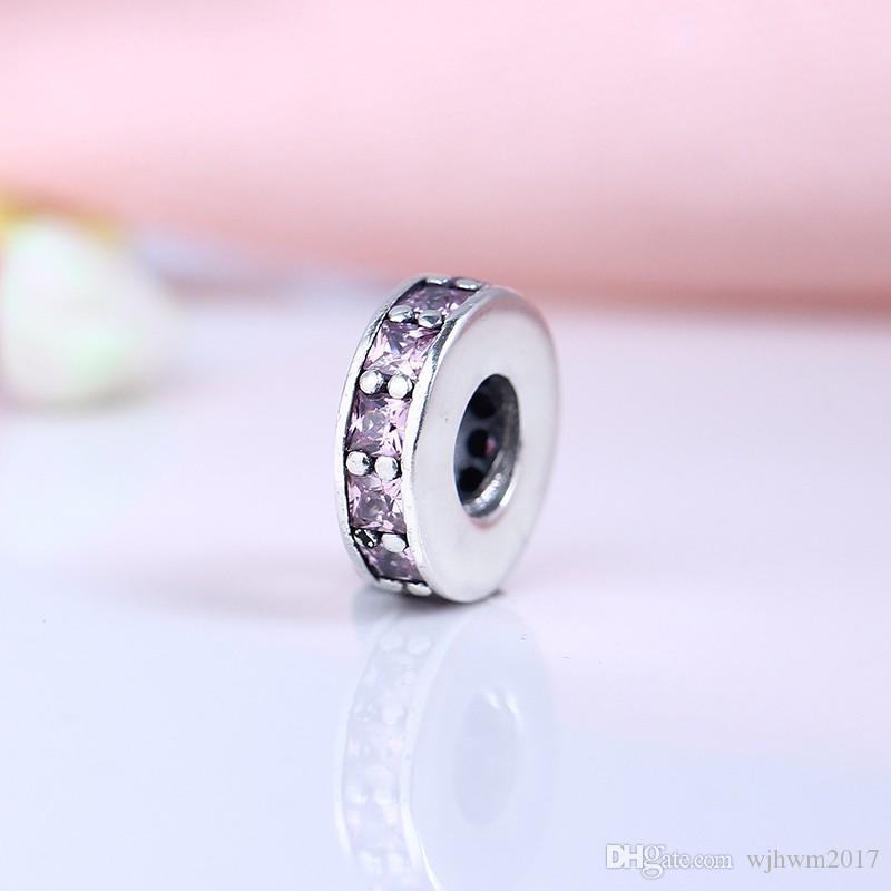 Fit Original Bracelet Bracelet 925 Sterling Silver Perle Abstract Entretoise avec blush Rose Crystal Charms Bricolage Bijoux Fabrication