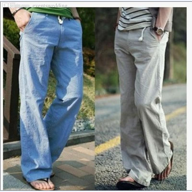 Wholesale-M-3XL 2016 New Brand High Quality Summer Linen Mens Joggers Loose Pants Casual Gym Thin Straight Sports Trouser Pants For Men