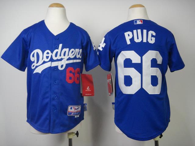 Los Angeles Dodgers Kids Jerseys 66 Yasiel Puig Blue Baseball Jersey  Stitched 100 ... f42d7f75d
